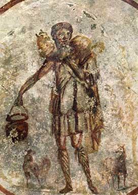 Jesus als guter Hirte, Fresko des 3. Jahrhunderts in der Calixtus-Katakombe, Rom